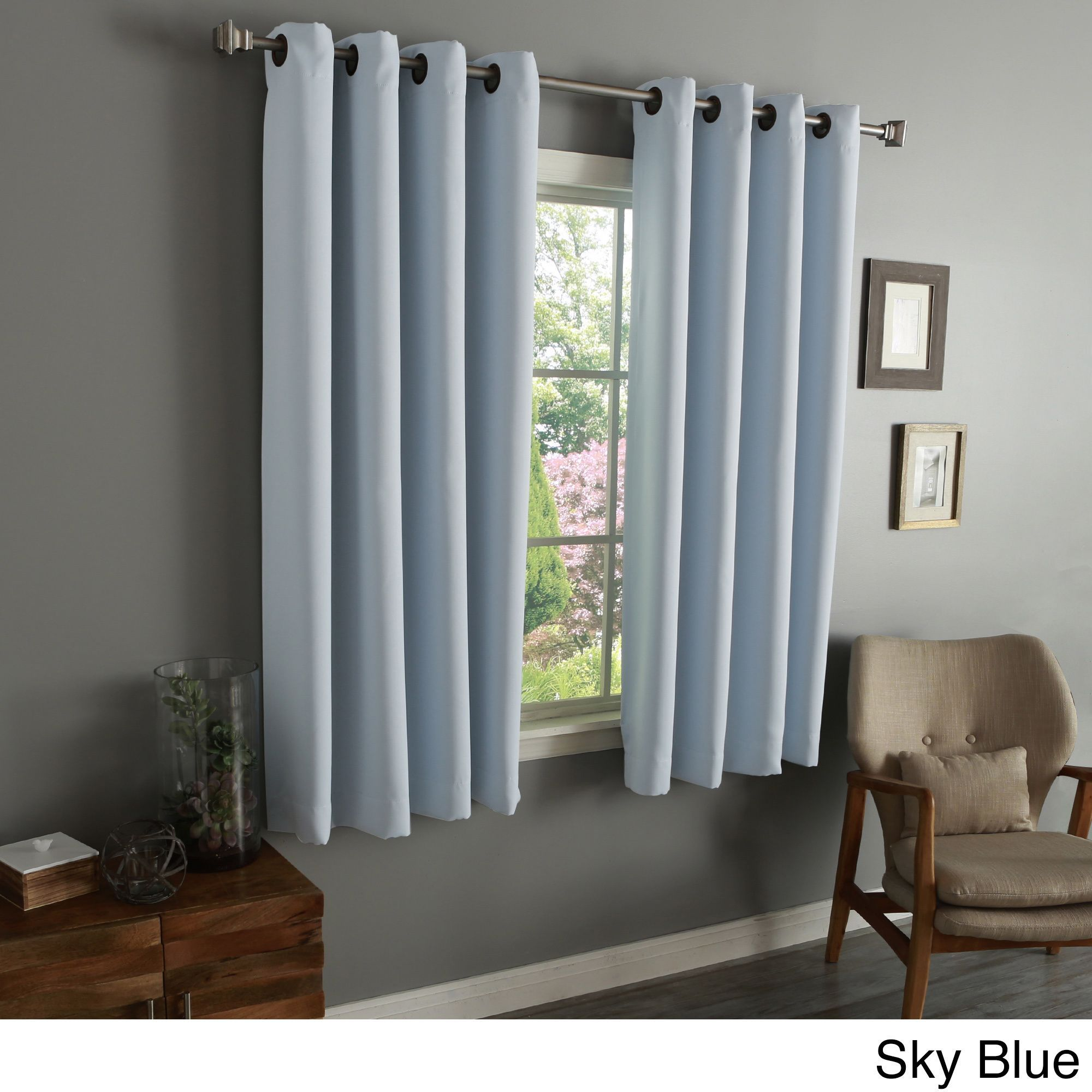 Aurora Home 54 Inch Thermal Insulated Blackout Grommet Top Curtain