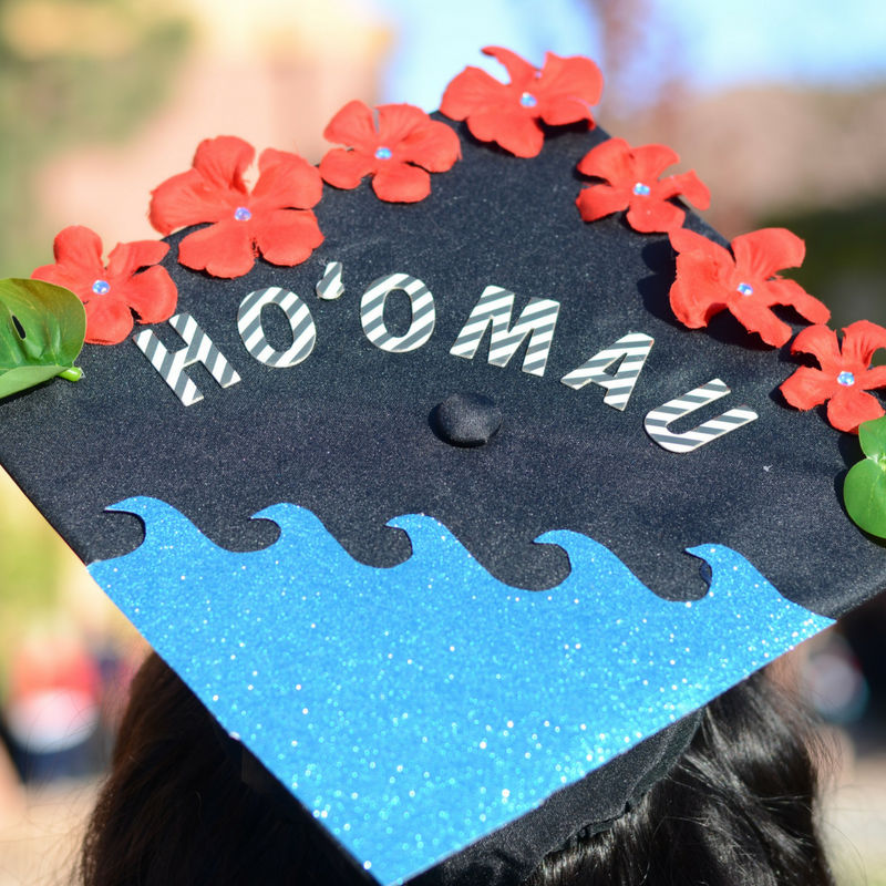 Ho Omau Flowers And Waves Hawaiian Graduation Cap 2018 Graduation Cap Decoration Graduation Cap Designs Custom Graduation Caps