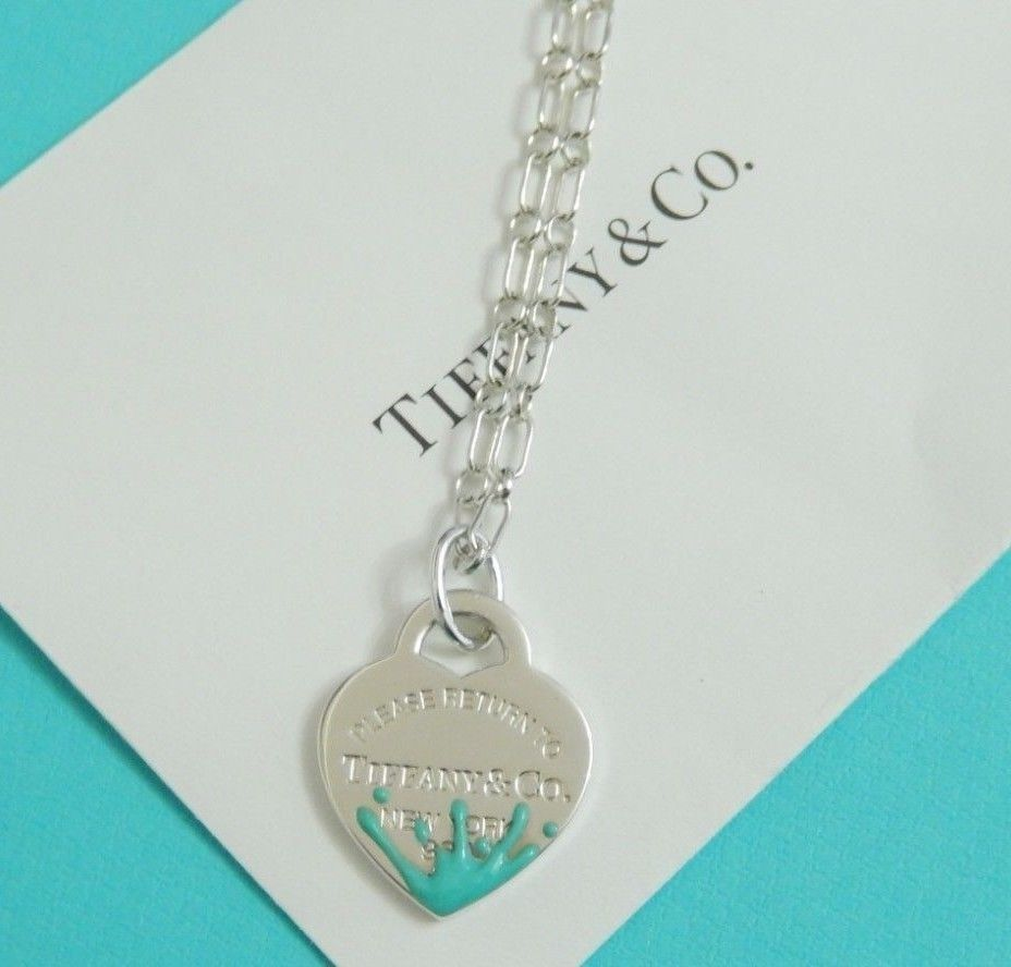 112d2c655 Tiffany & Co Silver Return To Blue Enamel Color Splash Heart Tag Charm  Necklace #TiffanyCo #Pendant