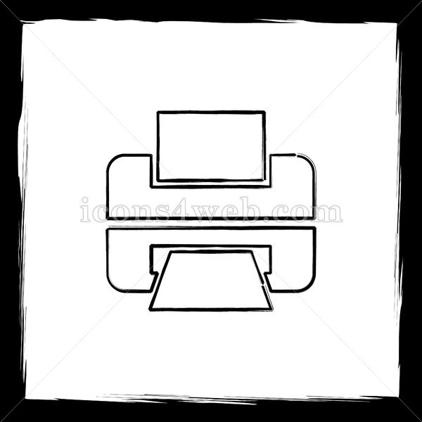 Printer sketch icon Printer sketch icon Printer sketch button Outline design in high resolution and well suited for web or print use