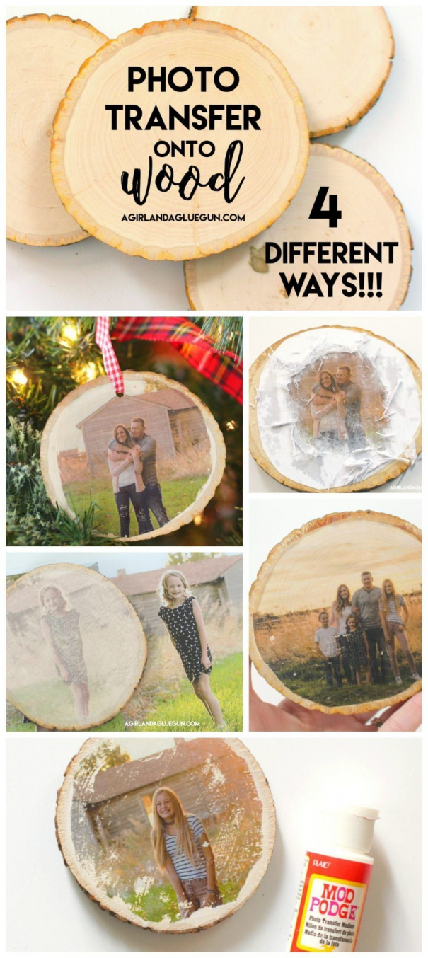 How To Transfer Photos Onto Wood 4 Different Ways What Technique Is Your Favorite Kidswoodcraf In 2020 Easy Christmas Diy Christmas Crafts Diy Diy Christmas Ornaments