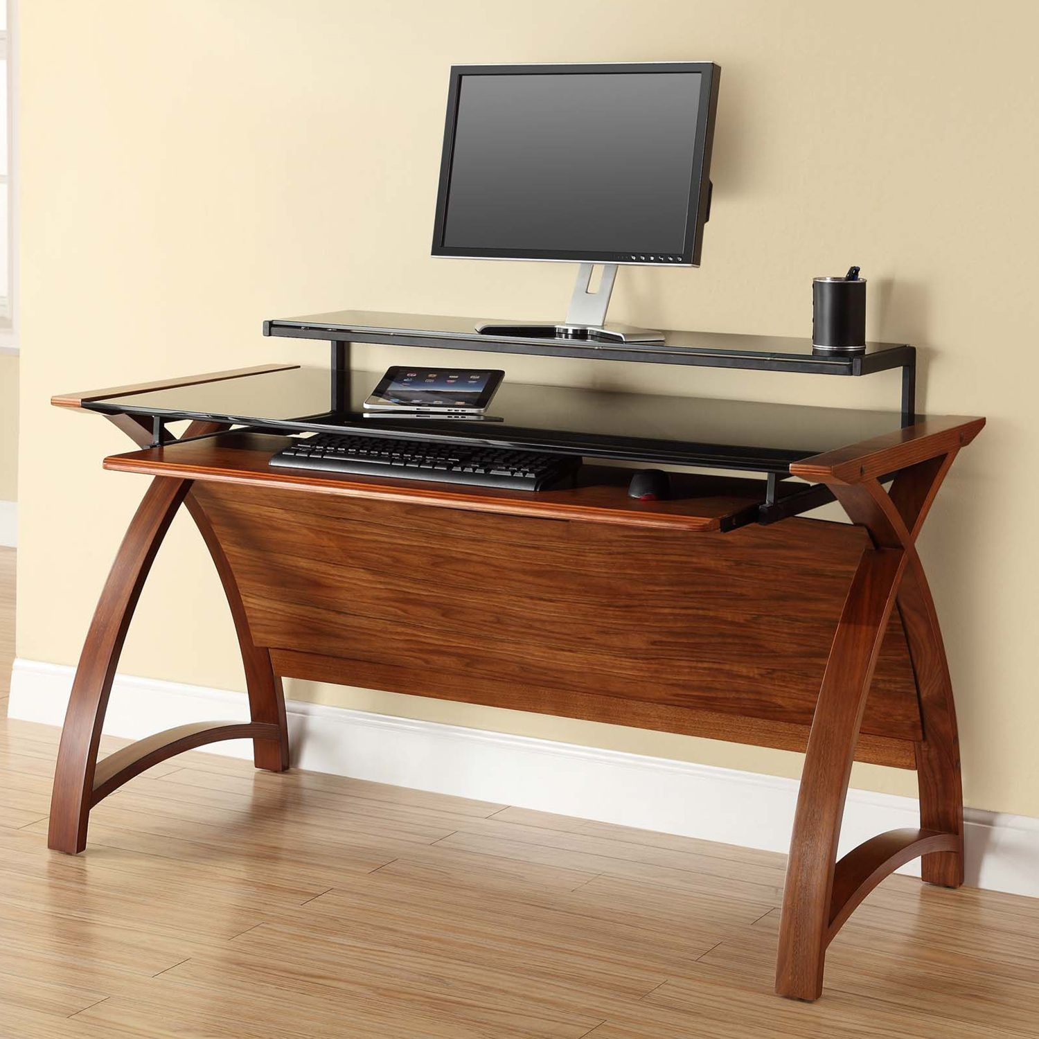 Curve Workstation Desk Walnut desks