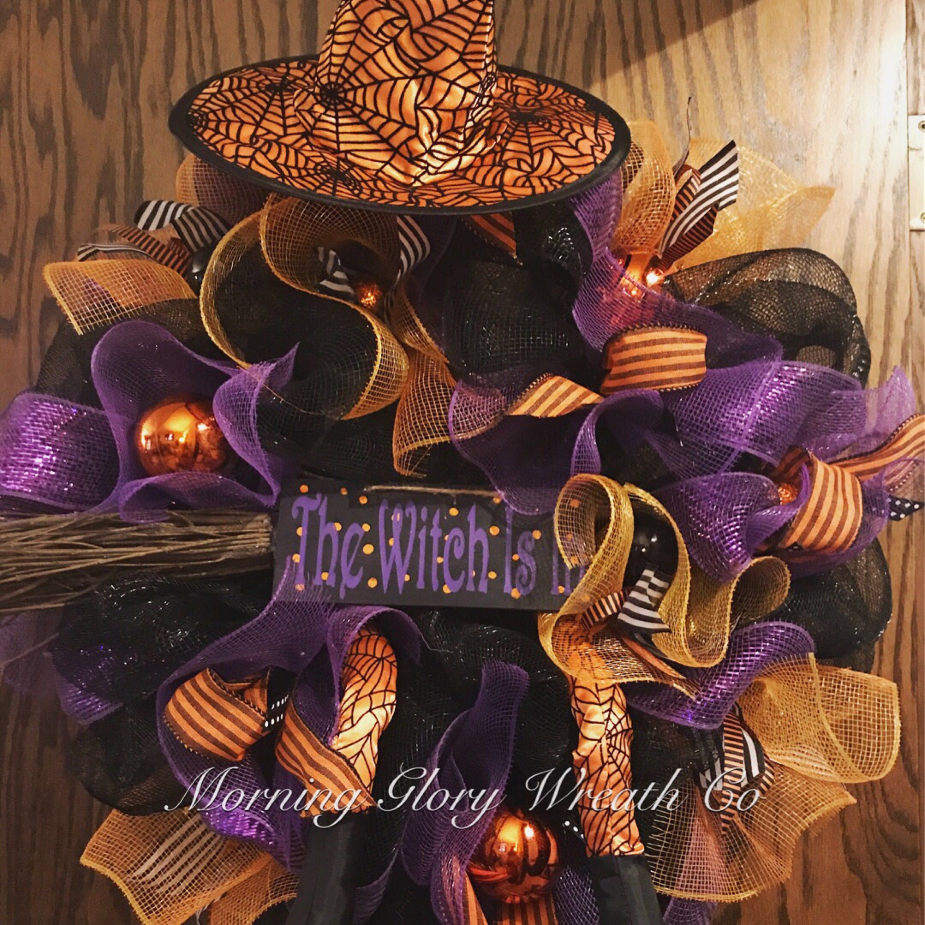 Halloween witch. Front door wreath. Witch decor. Fall