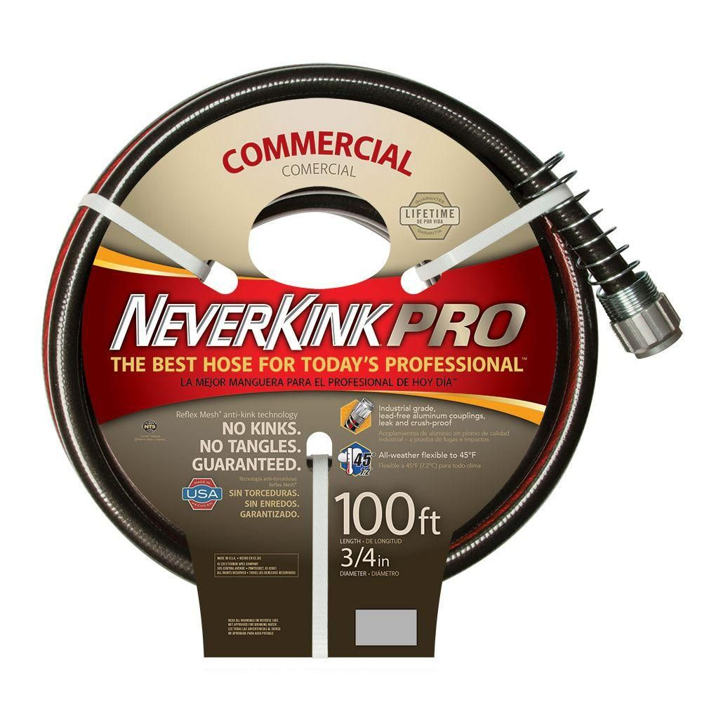 Neverkink Pro 3 4 In Dia X 100 Ft Commercial Duty Water Hose 9844 100 The Home Depot Hose Garden Hose Water Hose