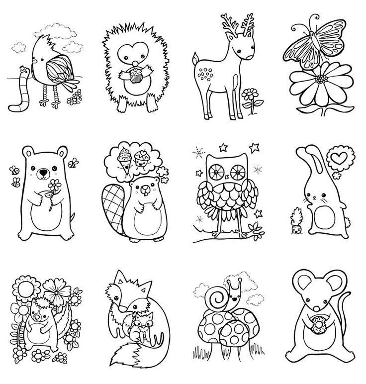 coloring book woodland animals easter children craft by myzoetrope - Baby Forest Animals Coloring Pages