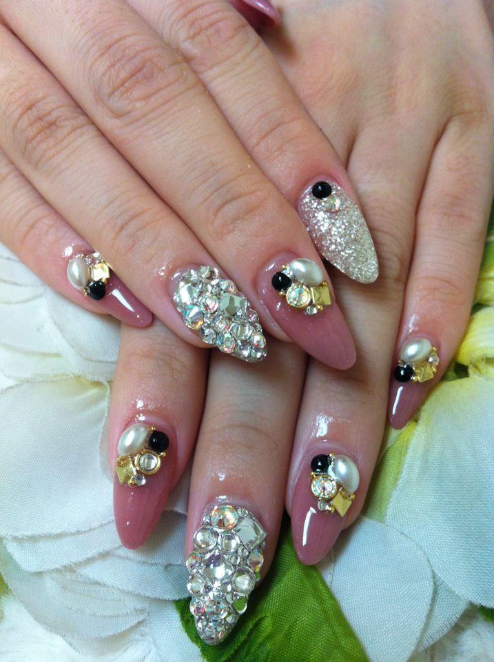 Acrylic Design Rhinestone With Nail Art   ago acrylic nails japanese ...