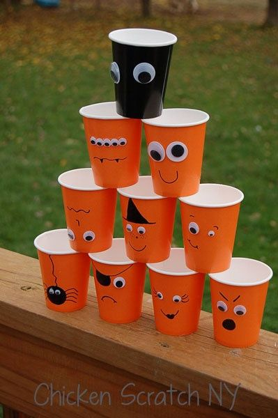 Halloween Cups  Quick Easy DIY #halloween #party #DIY fall-crafts - kids halloween party ideas
