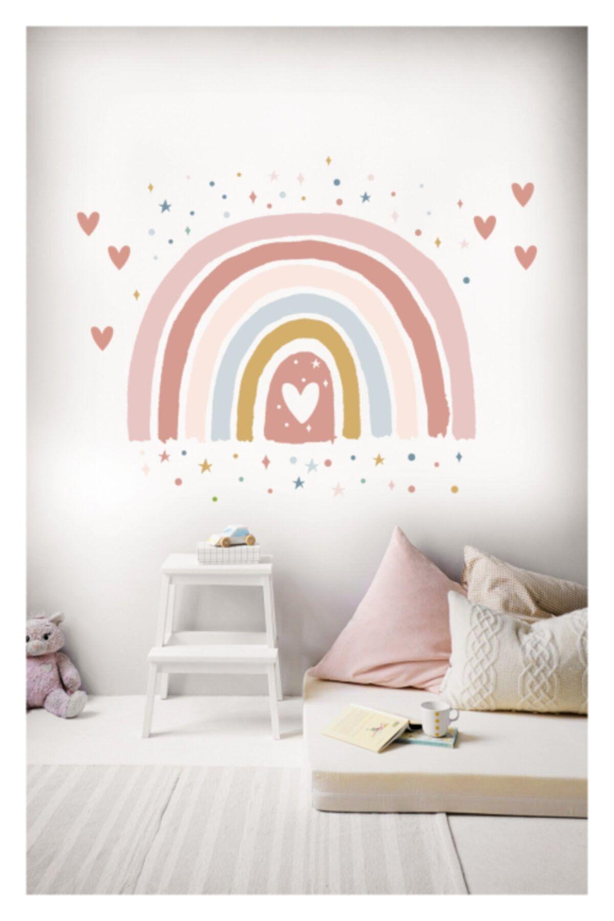 Boho Pink Rainbow and Hearts Wall Sticker Girls Room Wall Decor Nursery Wall Decal