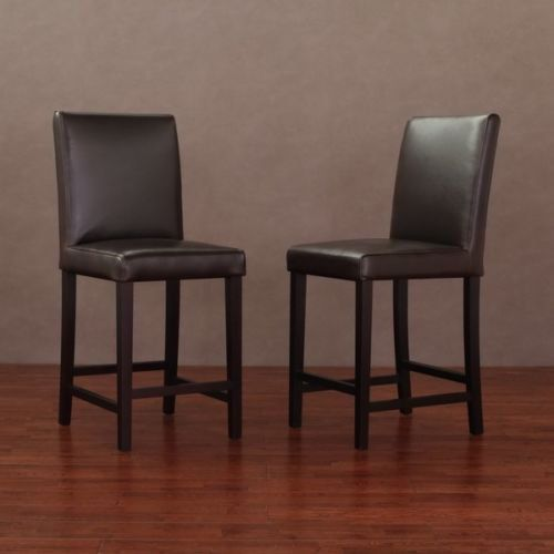 Amazing 2 Pc Andre 24 Inch Dark Brown Leather Espresso Wood Finish Caraccident5 Cool Chair Designs And Ideas Caraccident5Info