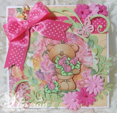Stamp Fairy 'Lenny Bear with Flowers' card