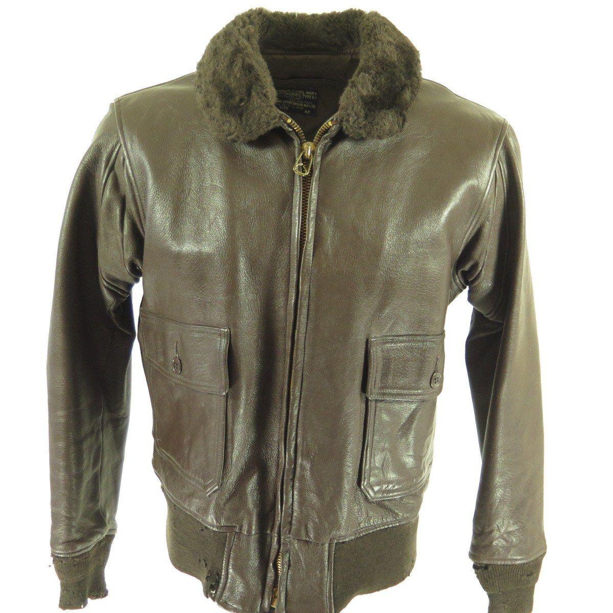 Vintage 70s G1 Leather Bomber Jacket 42 Or Large Goatskin Navy Mouton Collar The Clothing Vault Jackets Leather Bomber Jacket Bomber Jacket Mens [ 1200 x 1200 Pixel ]