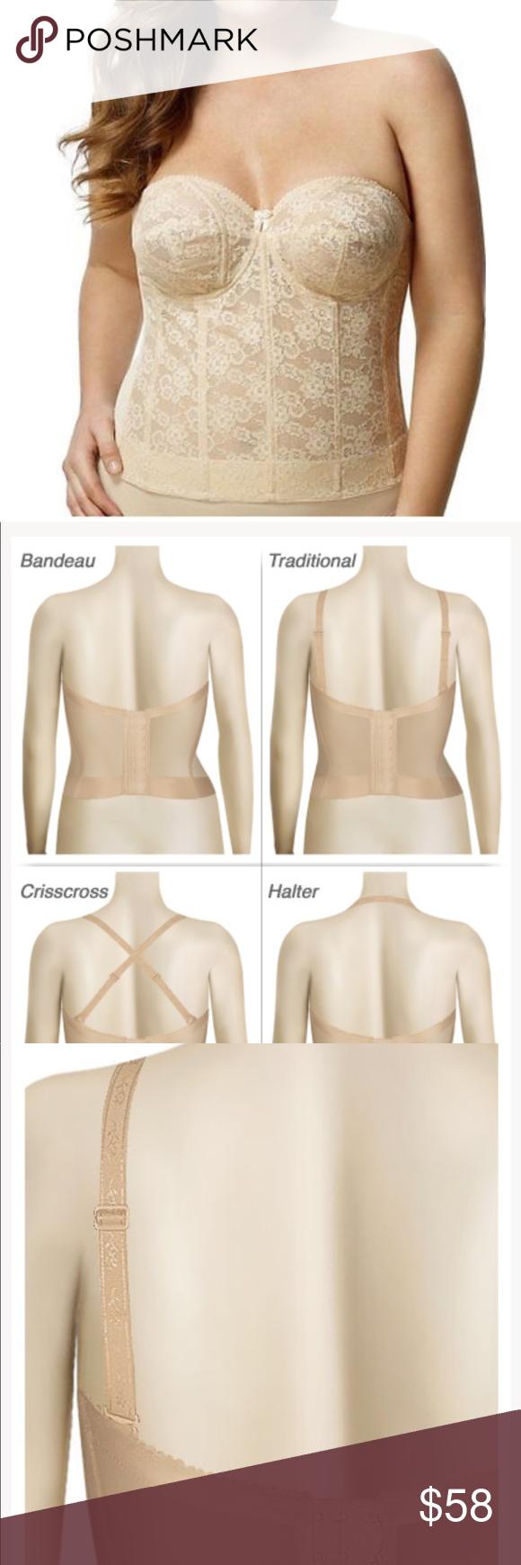 dba6345af7 Elila lace Strapless Longline Bra   nude Cups   body 100% nylon ...