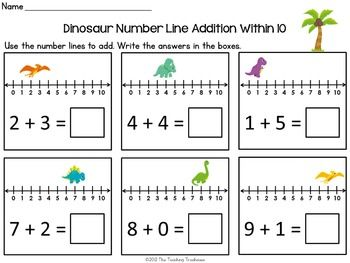 dinosaur number line addition subtraction within 10 school ideas subtraction activities. Black Bedroom Furniture Sets. Home Design Ideas