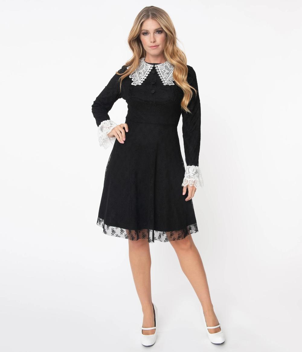 Black White Lace Collar Weird Sisters Fit Flare Dresses Unique Vintage Modest Black Dress Crazy Dresses Fit N Flare Dress [ 1164 x 1000 Pixel ]