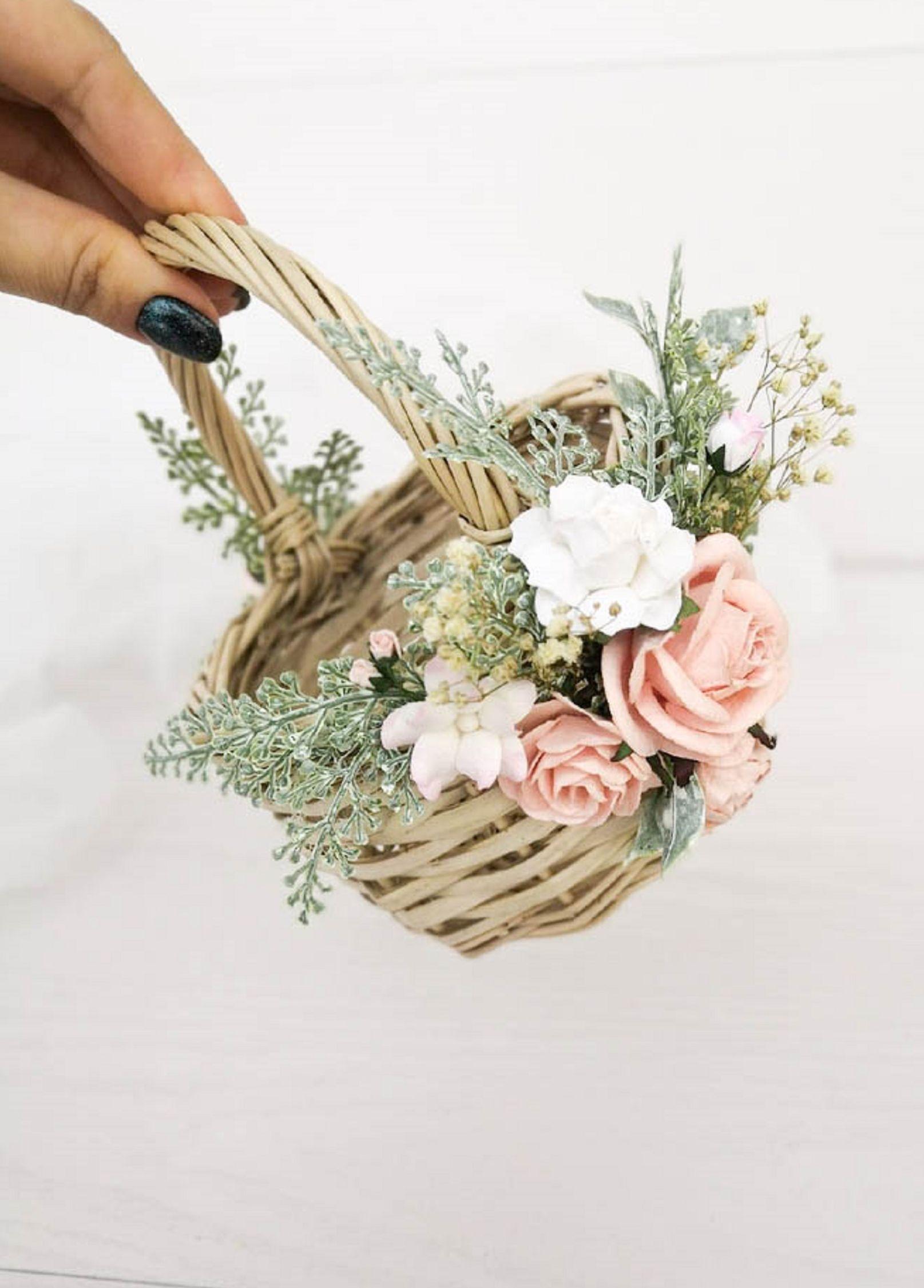 Rustic Flower Girl Basket Wedding Flower Basket Wedding Girl Basket Here Comes the Bride Rattan Flower Girl Basket Bridal Flower Basket