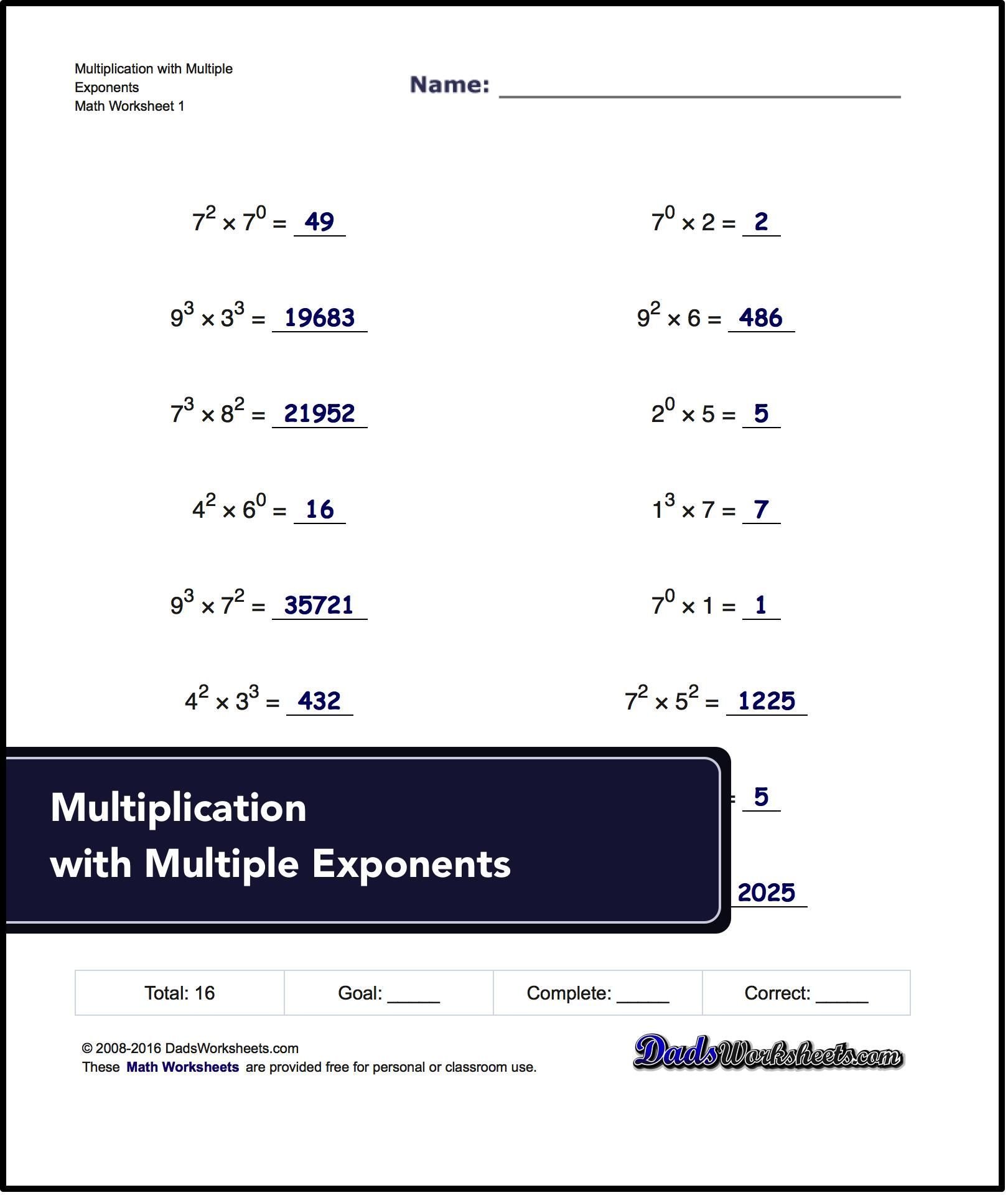Exponents Worksheets For Multiplication With Multiple