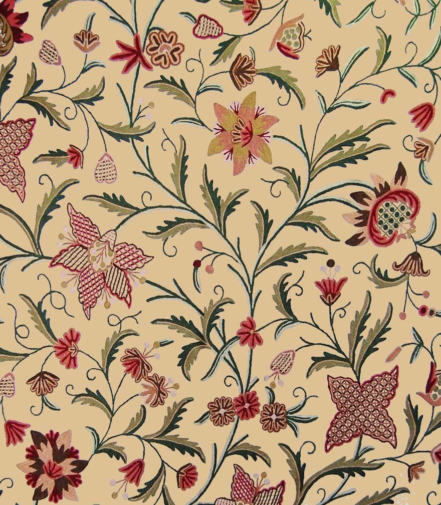 Custom Made Crewel Embroidered Fabric 3366 In 2019