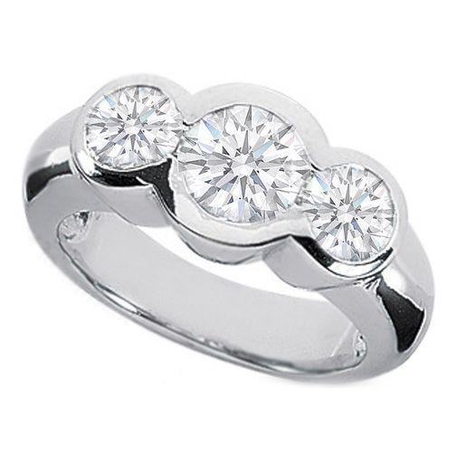 Three Stone Round Diamond Bezel Set Engagement Ring ♥ JEWELS ♥