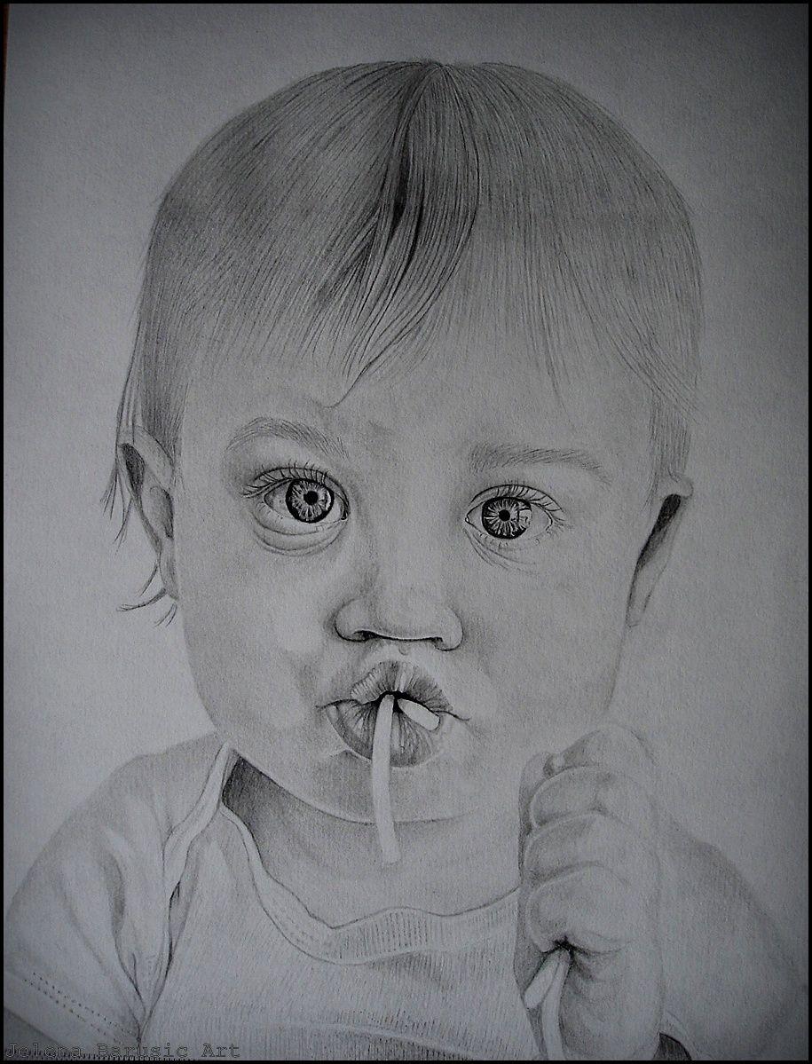 Pencil tracing infant facial features
