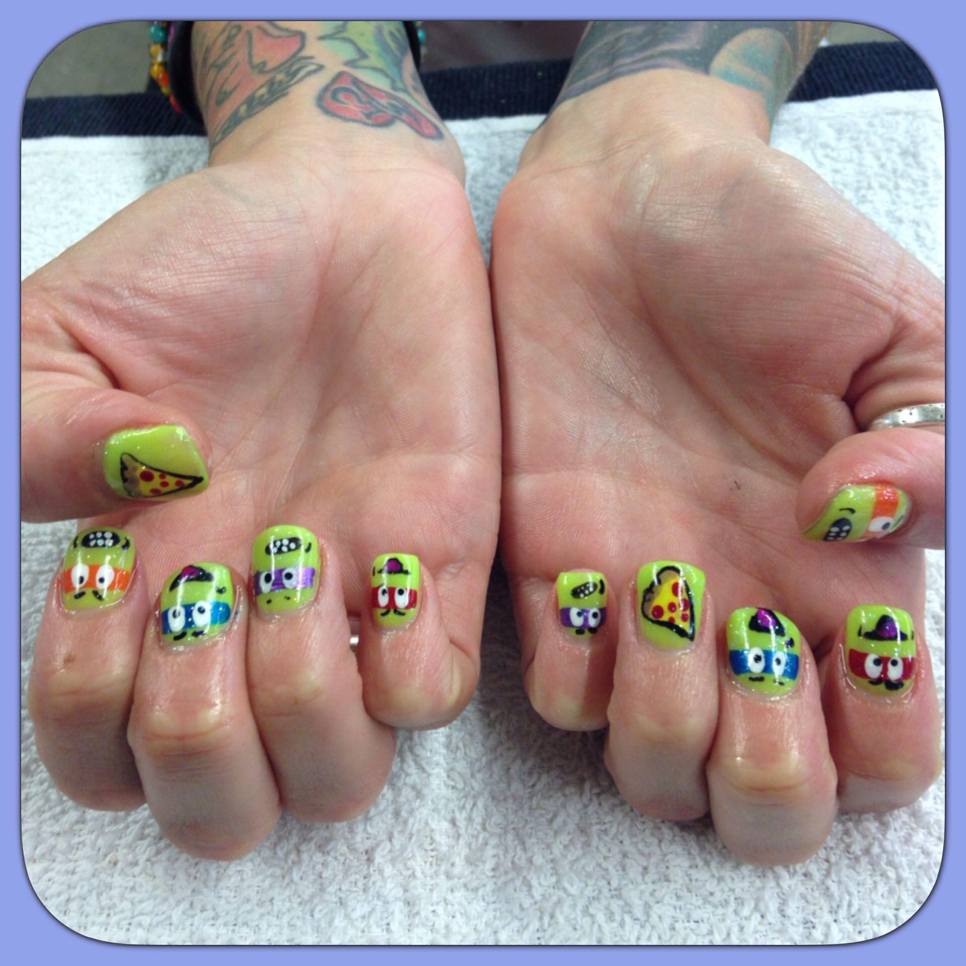 Nail Design Ninja Turtle Gel Glitter nails   My Nail Designs ...