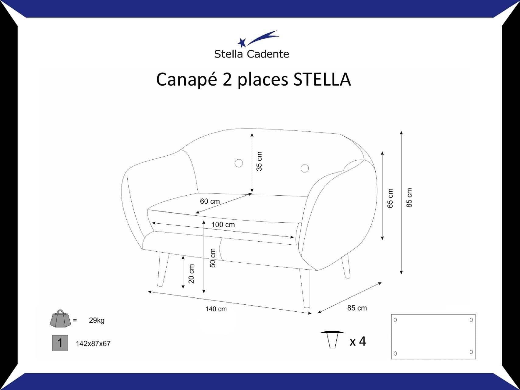 Canape Scandinave 2 Places Anthracite Stella Cadente Maison Stella Canape Scandinave 2 Places Canape Scandinave Maison
