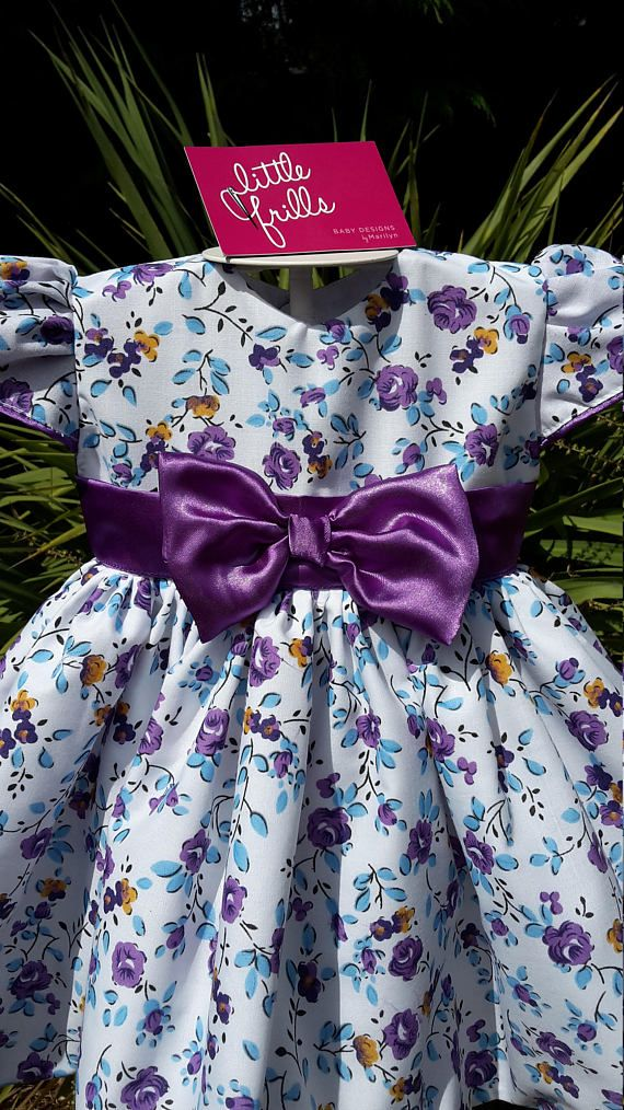 a26911efb29cc Purple Bow Baby Dress | Sewing Ideas | Baby bows, Baby dress, Bows