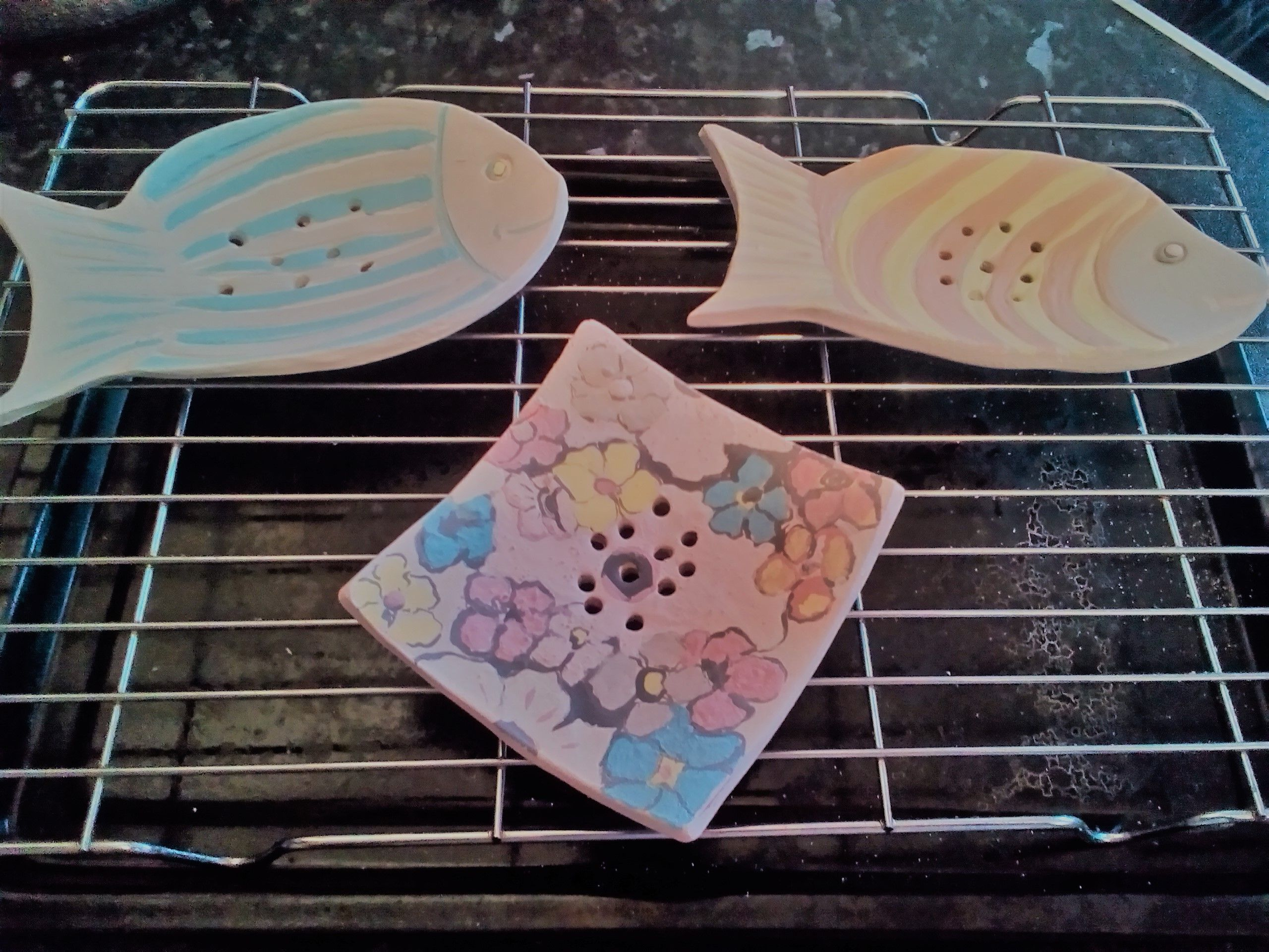 Work in progress Ceramic soap dishes now underglazed