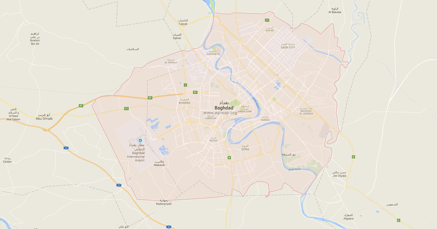 nice Map of baghdad     maps   Pinterest   Baghdad  Nice map and     Baghdad iraq
