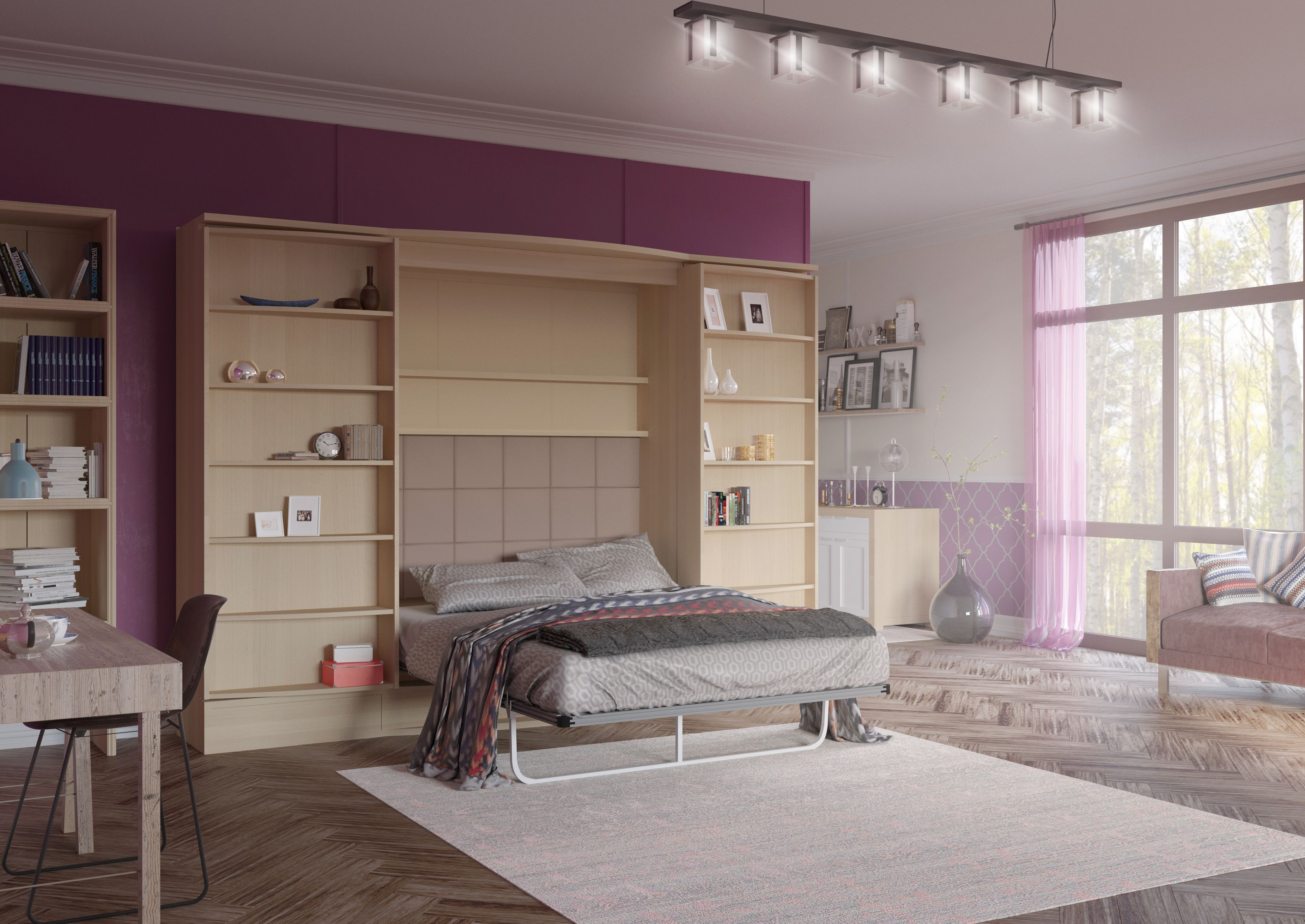 Hidden Murphy Bed Wall Bed within a modern bookshelf Perfect for
