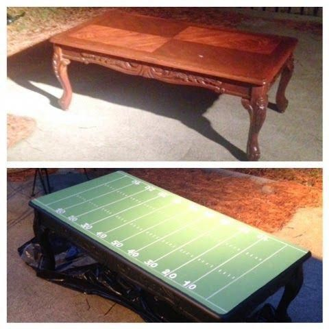 Man Cave Basement Before And After #mancavegarage CHANGE TO BASKETBALL COURT!! Football Field Coffee Table- Repurpose Furniture good for man cave/ den #mancavebasementhowtobuild #garagemancaves