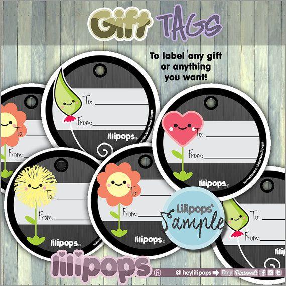 Lilipops - Gift Tags - Printable Tags - Digital Gift Tags - Scrapbooking - Cute Gift Tags - Printable - Kawaii - Instant Download - Label - HeyLilipops