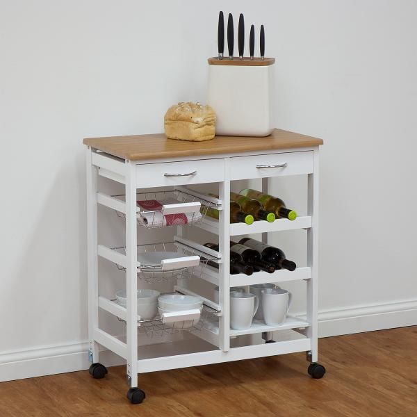 White Kitchen Trolley $130 incl postage new white sleek design zeller 2 top storage