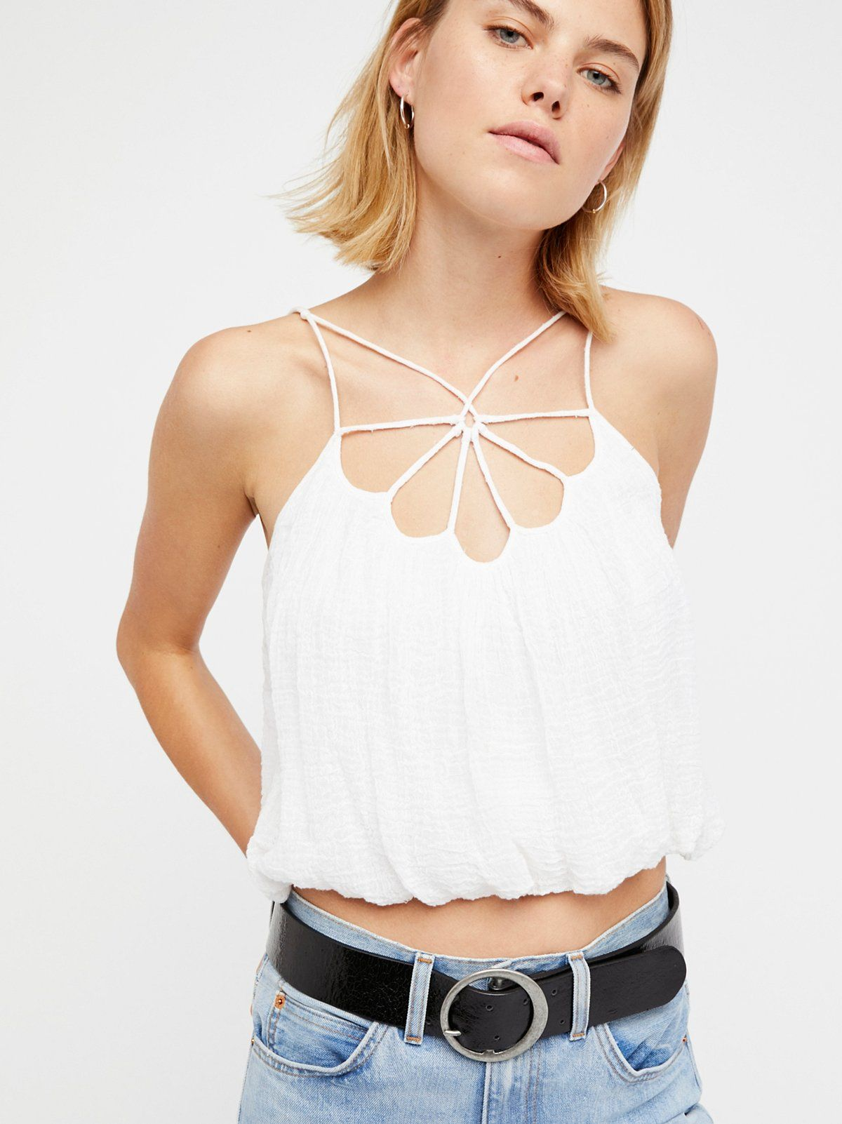 4ad76b29d FP One Lotus Blossom Top | Lightweight gauzy tank featuring a bubble hem. *  Strappy front * Adjustable straps * Lined