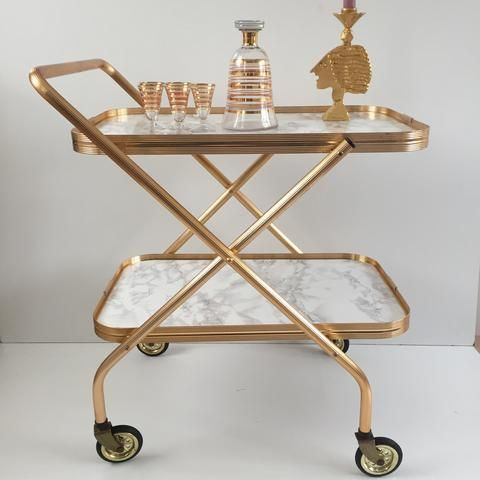 Retro vintage foldable hostess trolley desserte pliante table roulante effet marbre et or - Desserte de table roulante ...