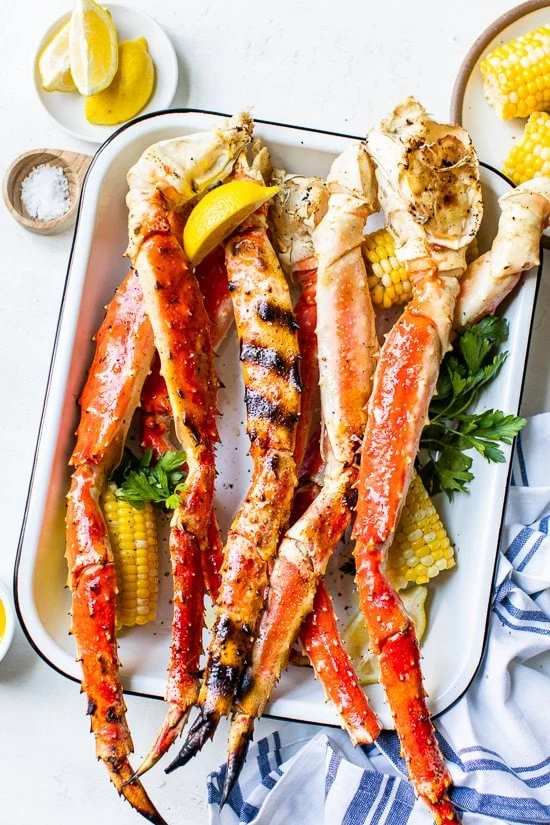 Grilled Crab Legs King Dungeness And Snow Crab Legs Skinnytaste Recipe Grilled Crab Crab Legs On The Grill King Crab Legs Recipe