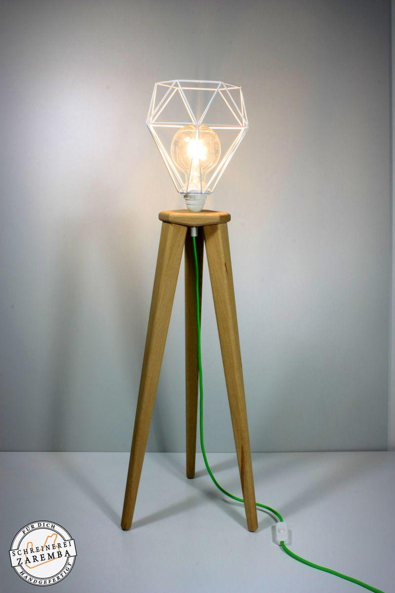 Stehlampe Eiche Geolt Diamant Industrial Design Hohe Mit