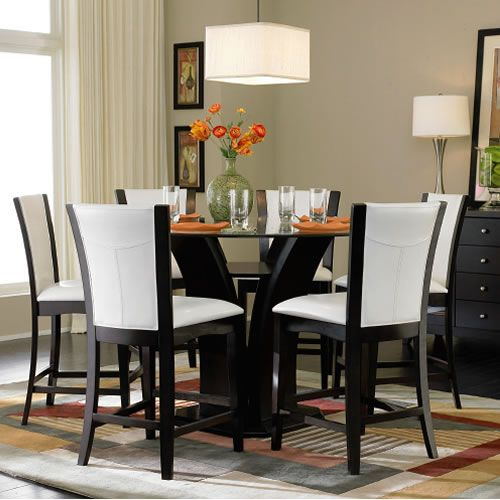 Amazing 5 Piece Counter Height Round Glass Top Dining Set By Home Elegance |  Chicago Furniture Outlets