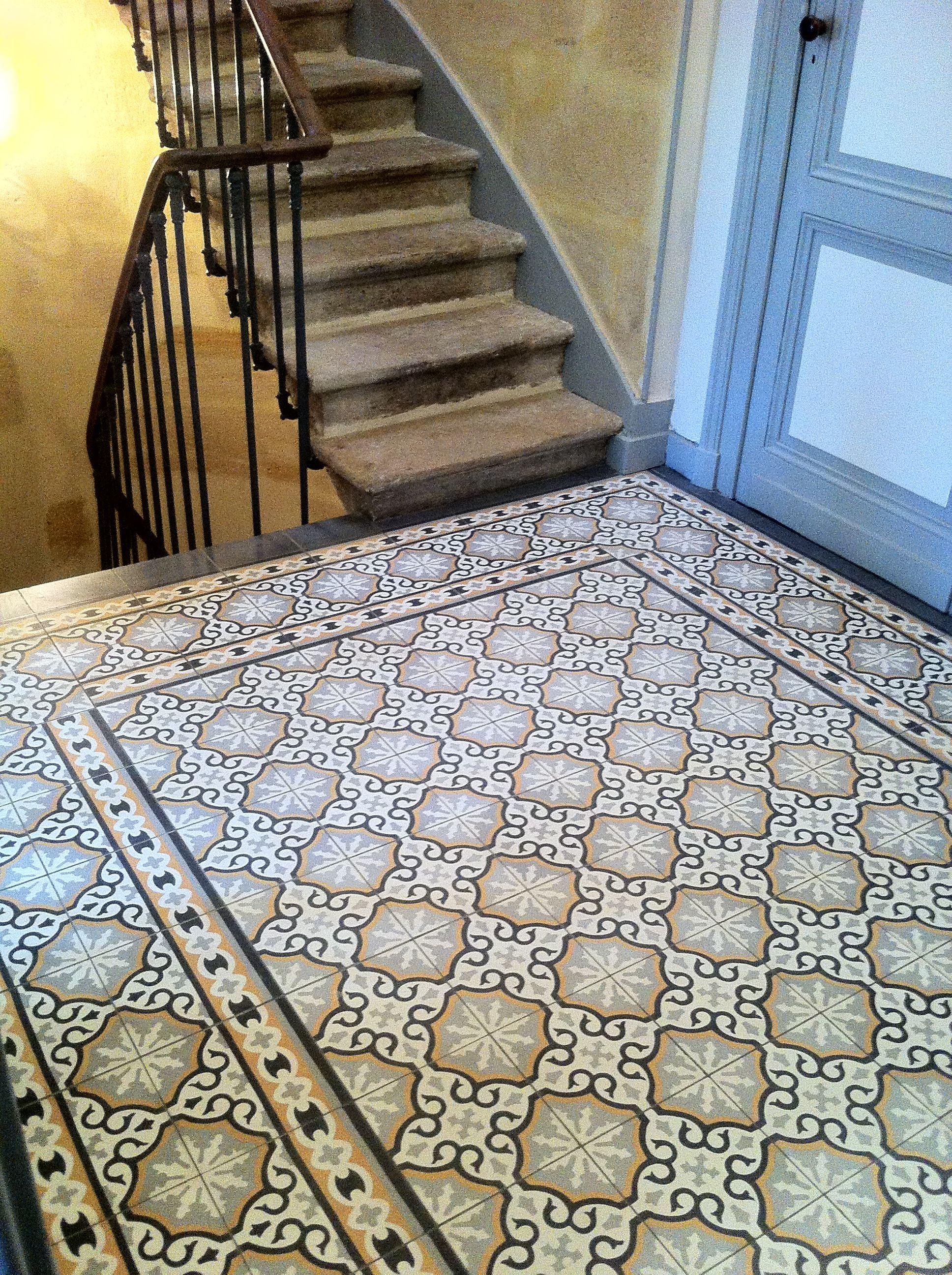 Entretien Carreaux Ciment Anciens hall d'entrée carreaux ciment références motifs m0085