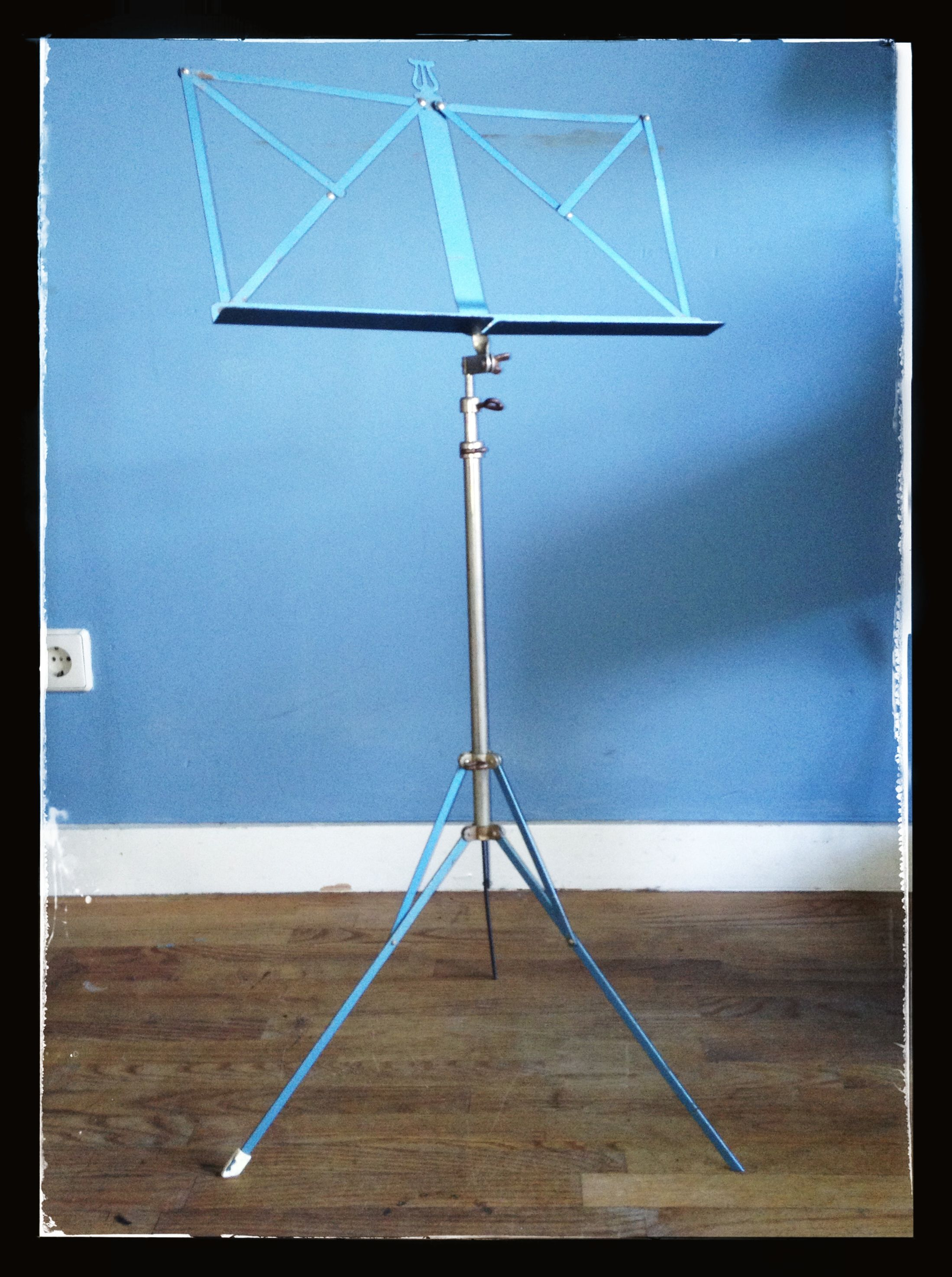 Blue metal music stand