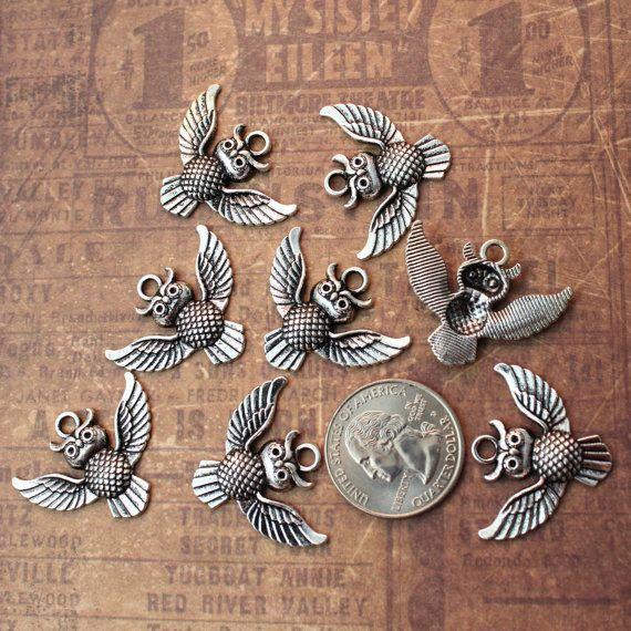 BULK 50 Chakra connector charms antique silver tone I198