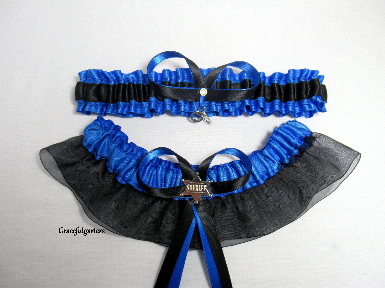 91f4efd2fe Handmade Handcuffs Sheriff officer handcuffs keepsake and toss blue line  Bridal Wedding Garter set. blue line garter