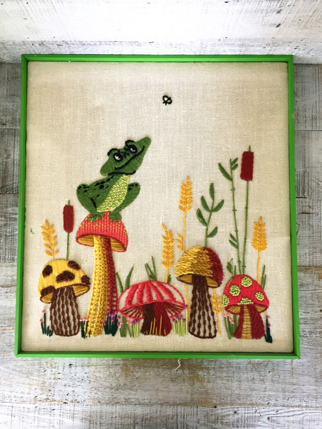 Embroidery Wall Art Retro Crewel Frog And Mushroom Wall Art Framed Embroidery Wall Hanging Framed Crewel Picture Needlepoint Wall Hangin Etsy Market Needl
