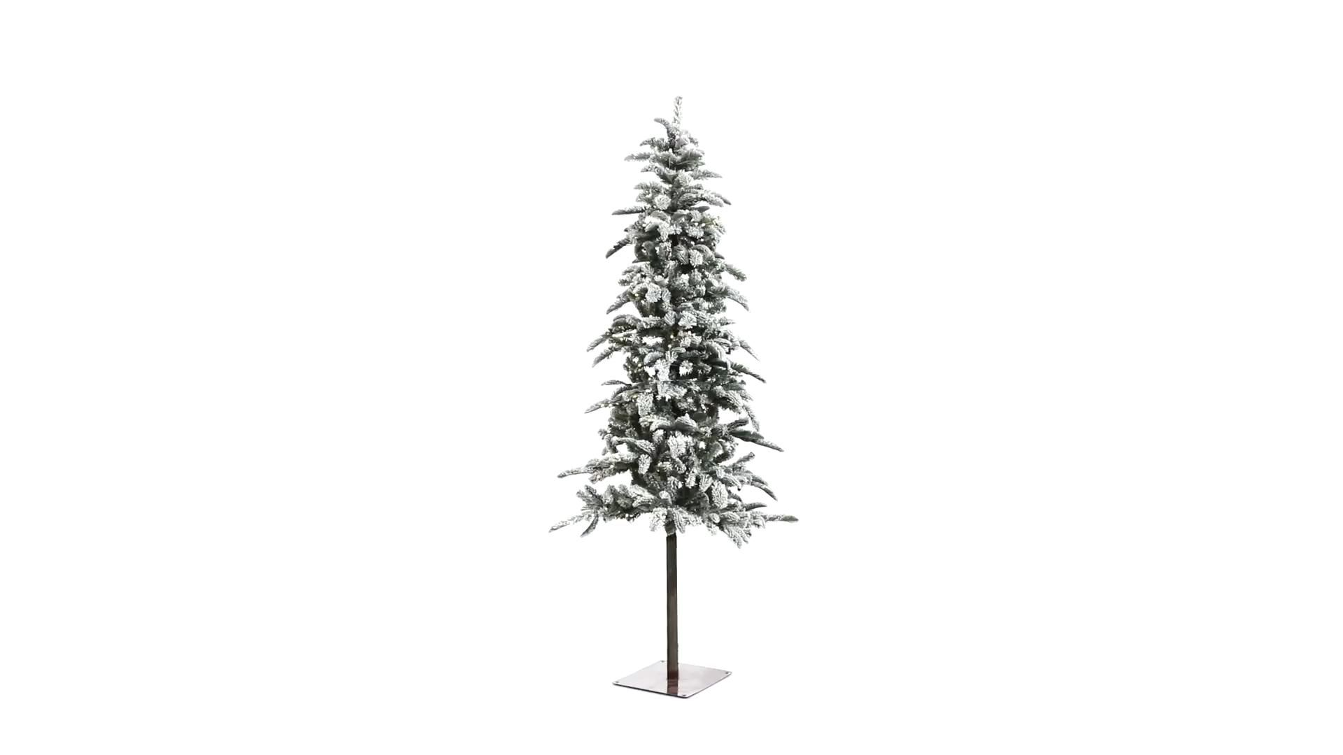 Create your own winter wonderland this holiday season with the help of this flocked Washington Alpine artificial Christmas tree. Easy and stress-free, this artificial Christmas tree boasts various tiers of evergreen foliage made up of 637 easy-to-bend branches, perfect for showcasing all your favorite holiday accents and finished with a light dusting of faux snow to evoke the ultimate winter setting. Arriving pre-strung with 250 LED lights to eliminate tangles