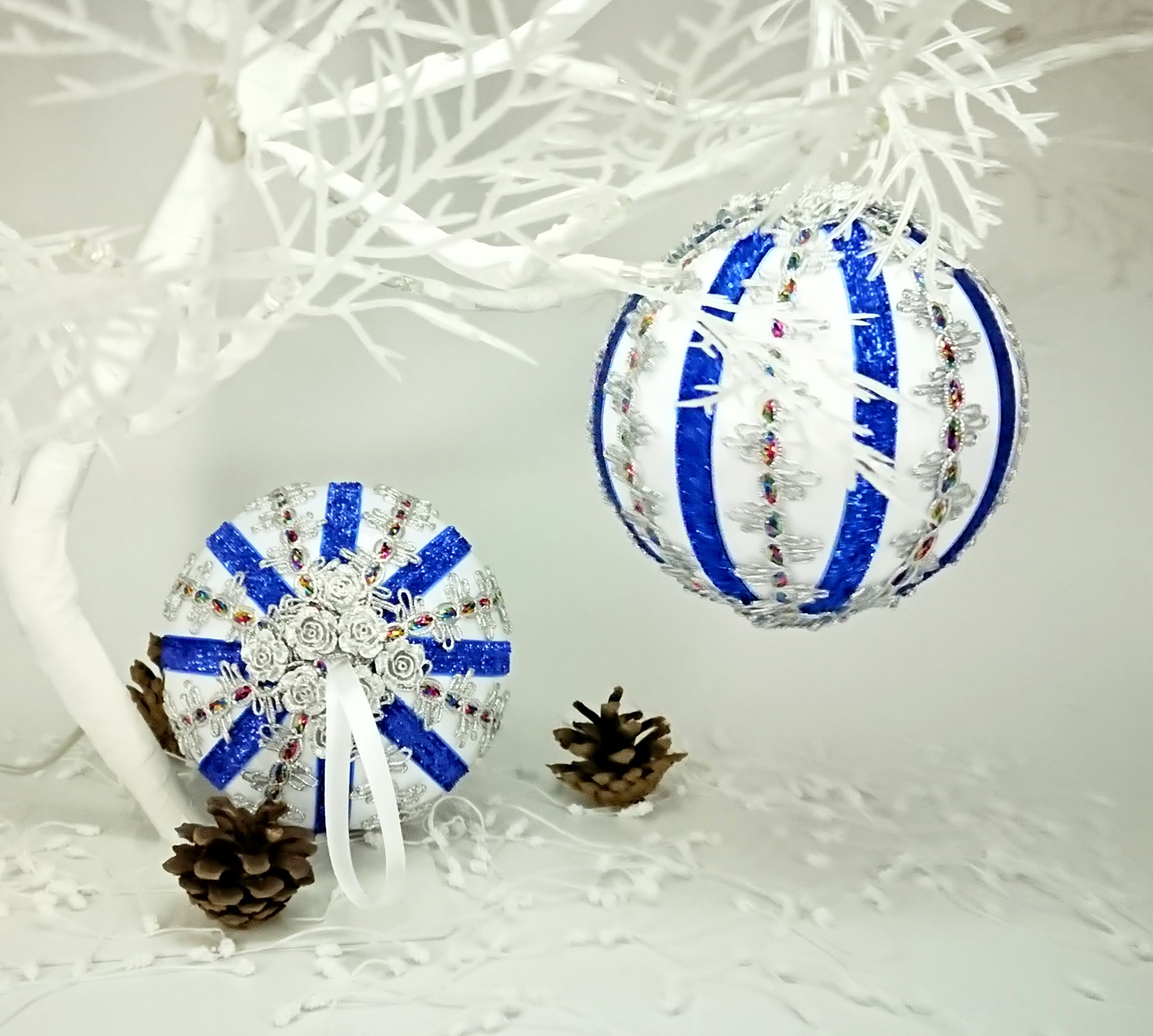 2020 Satin Christmas Year Ornament White blue Christmas baubles Satin ornaments Hand crafted | Etsy