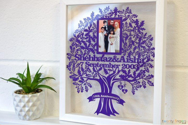 Personalised Wedding Gift – Love Tree Papercut with your picture in a Floating Frame. Gorgeous wedding anniversary gift