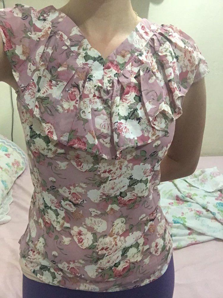 f557de4d1 2018 Moda Verão Blusas Femininas Camisas Plus Size Floral Tops Senhoras  Babados Blusa de Manga Curta Chiffon Blusas Feminina Mujer Loja Online