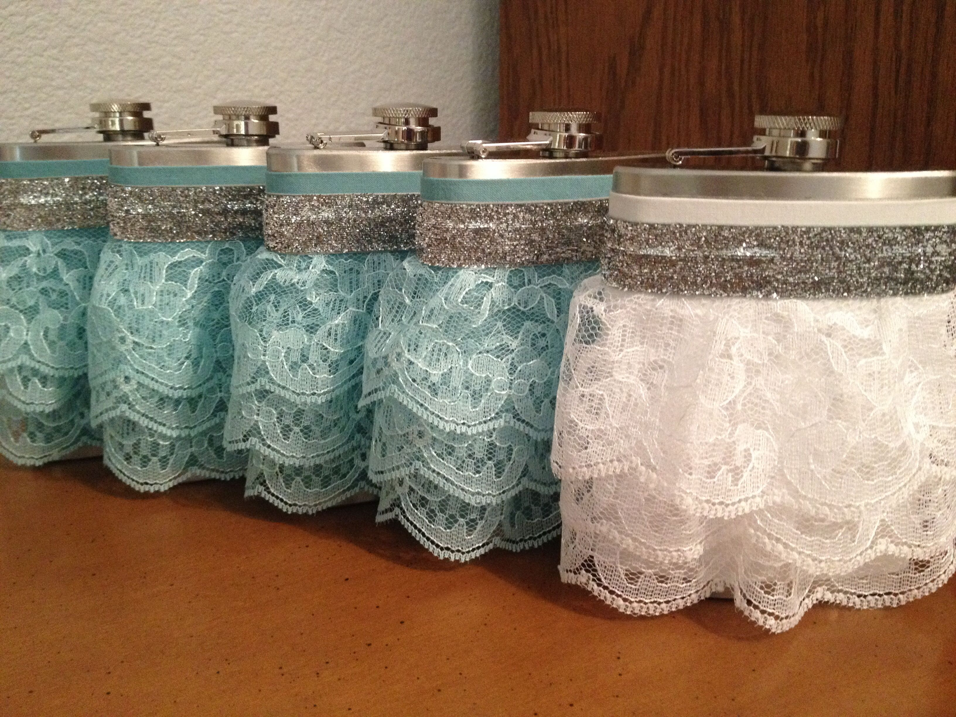 Wedding gifts for bridesmaids/bride - rustic wedding theme. $15+/- each depending on flasks/ruffles - can be made any color.