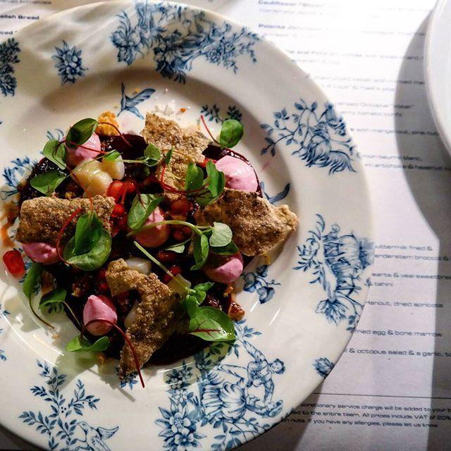 A beautiful plate of food by talented team of chefs @ThePalomar - #Beetroot and #scallop #carpaccio w/ beetroot yogurt and rice based #twill  #toplondonrestaurants #eatfamous #bestfoodworld #culturetrip_ldn #feedfeed #forkyeah #eeeeeats #dailyfoodfeed #foodpornshare #instafood #fdbloggers