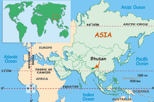 India World Map Asia Bhutan <b>map</b> & location hiking ...