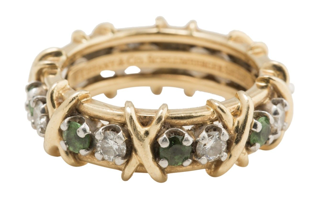 Tiffany & Co. Schlumberger 18k Yellow Gold Platinum Diamond and Tsavorite X Ring-Sz. 6 - Tiffany & Co. ring from the Schlumberger collection featuring 16 stones- 8 round brilliant diamonds totaling .65 carats and 8 tsavorites totaling .59 carats set in platinum on an 18k yellow gold band with 18k yellow gold X's.%0D%0AThe ring is 7mm wide and a size 6, it is in excellent condition with light wear.